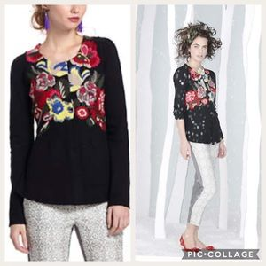 Anthropologie Techniflora Embroidered Cardigan